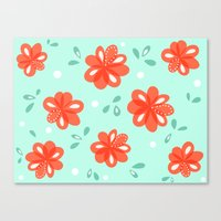 Cheerful Red Flowers Pattern Canvas Print