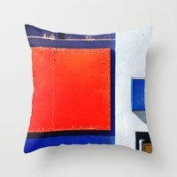 Red, Blue, White Shapes Throw Pillow