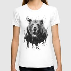 DARK BEAR Womens Fitted Tee White SMALL