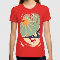 Fox Roaming Around II Womens Fitted Tee Red SMALL