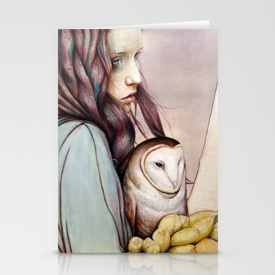 The Girl and the Owl Stationery Card