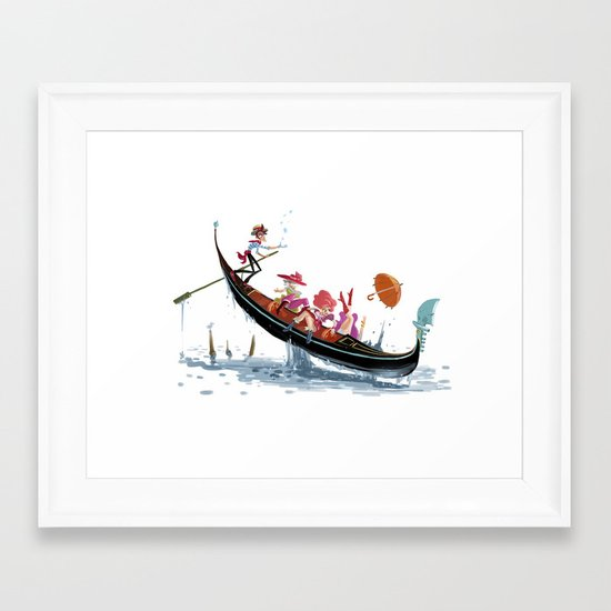 Pin up Venise Framed Art Print