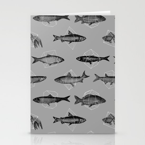 Fishes In Geometrics (Grey) Stationery Card