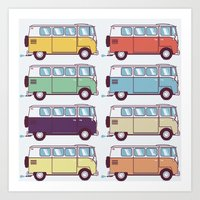 VW Van Parade Art Print