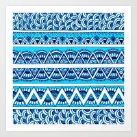 Shades Of Blue Zigzag Art Print