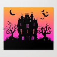 Haunted Silhouette Rainb… Canvas Print