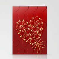 Gold Hearts On Rich Red Stationery Cards
