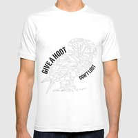 GIVE A HOOT, DON'T LOOT! Mens Fitted Tee White SMALL