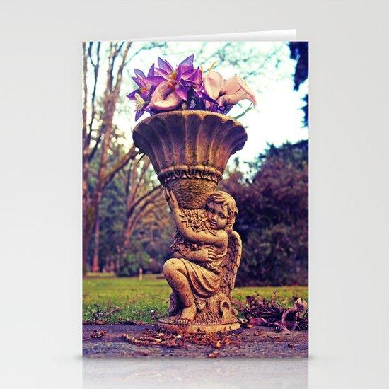Graveyard statue Stationery Card