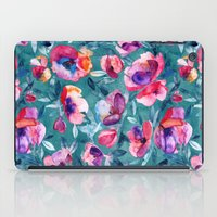 Flourish - a watercolor floral in pink and teal iPad Case