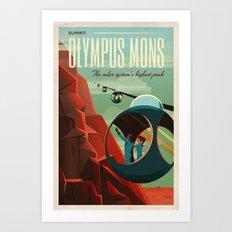 THE VOLCANO OF MARS - Olympus Mons | Space | X | Retro | Vintage | Futurism | Sci-Fi Art Print