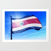 Costa Rica flag waving on the wind Art Print
