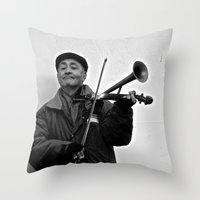Busking in Belfast 1 Throw Pillow
