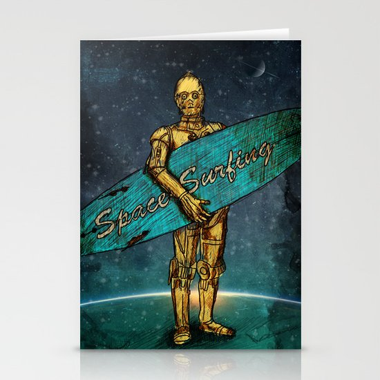 Space Surfer Stationery Card