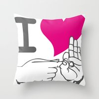 I LOVE TO F**K Throw Pillow