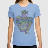 Owl Hand Drawing Womens Fitted Tee Athletic Blue SMALL