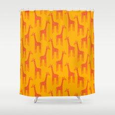 Giraffes-Orange Shower Curtain