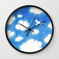 Seagull in the sky Wall Clock