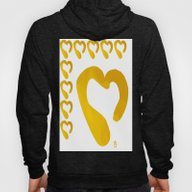 Gold Hearts On White - L… Hoody
