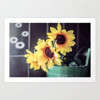 Sunflowers in my kitchen Art Print