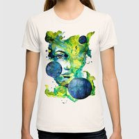 Evelin Green (Set) by carographic watercolor portrait Womens Fitted Tee Natural SMALL