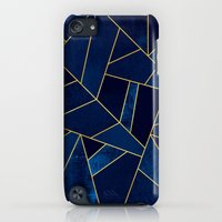 iPod Touch Cases featuring Blue stone with gold lines by Elisabeth Fredriksson