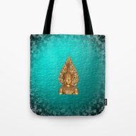Golden Buddha In Blue Pa… Tote Bag