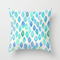 Watercolor Leaf Pattern … Throw Pillow