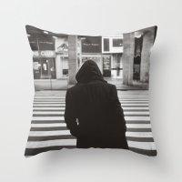 black hood Throw Pillow