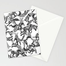 woodland fox party black white Stationery Cards