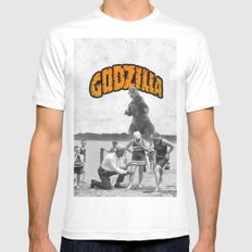 godzilla  White SMALL Mens Fitted Tee