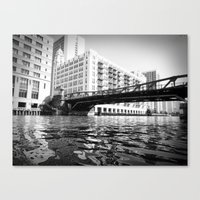 Black and White Chicago River Bridge Photography Canvas Print