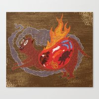 BEAST EATING MONSTER  Canvas Print