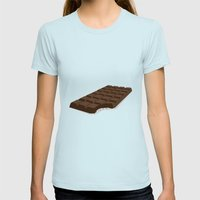 Chocolate Womens Fitted Tee Light Blue SMALL
