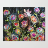 Canvas Print featuring Midnight in the Fairy Garden by Cally's Creations