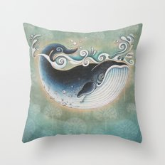 the Blue Whale Throw Pillow