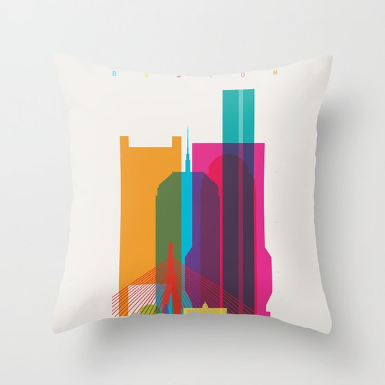 Shapes of Boston. Accurate to scale Throw Pillow