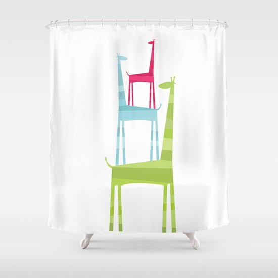 Giraffe Trio Shower Curtain