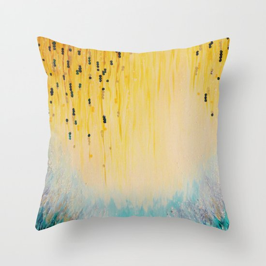 MYSTIC GARDEN Lovely Fairy Land Abstract Painting Acrylic Fine Art Winter Colorful Fantasy Magical Throw Pillow