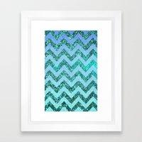 glittery ocean chevron Framed Art Print