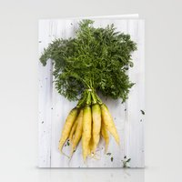 Organic Vegetable - Organic Yellow Carrots On Old White Wood Stationery Cards