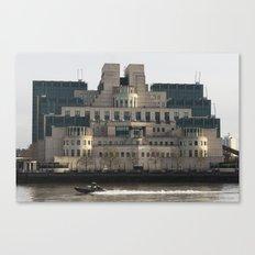 SIS Secret Service Building London And Rib Boat Canvas Print