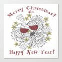 Merry Christmas & Happy New Year - Zentangle Illustration Canvas Print