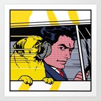 Pug In The Car  Art Print