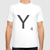Scrabble Y Mens Fitted Tee White SMALL