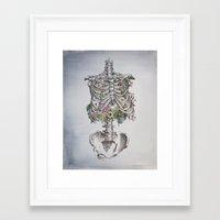 Floral Anatomy Skeleton Framed Art Print