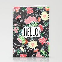 Pastel preppy flowers Hello typography chalkboard Stationery Cards