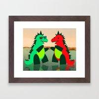 Dino Party at Sea Framed Art Print