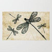Dragonflies On Tan Textu… Rug