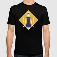 Isolde Yellow Mens Fitted Tee Black SMALL